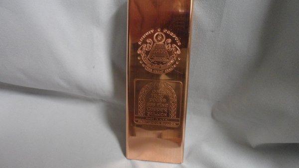 Troy Pound Masonic 99.9% Pure Copper Bullion Bar