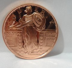 1 Ounce Standing Liberty .999 Fine Copper Bullion Round