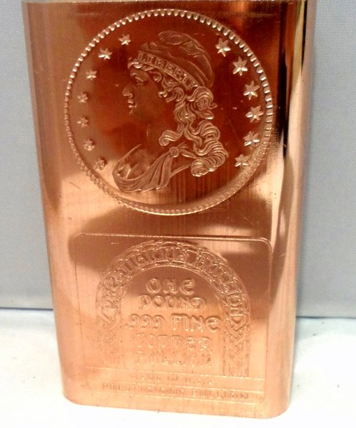 1 Pound Capped Bust 99.9% Pure Copper Bullion Bar