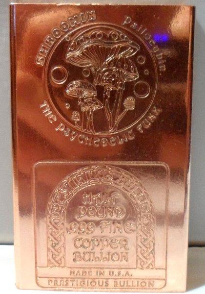 Half Pound Shroom 99.9% Pure Copper Bullion Bar