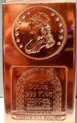 Half Pound Capped Bust 99.9% Pure Copper Bullion Bar
