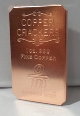1OZ Copper Cracker 99.9% Pure Copper Bullion Art Ingot Bar