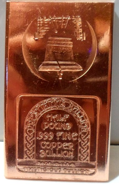 Half Pound Liberty Bell 99.9% Pure Copper Bullion Bar