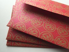 A1/ 4 Bar Envelopes for Indian Wedding Invitation RSVP card - Red metallic finish paper and Gold Paisley Print (25 Pack)