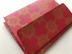 A1/ 4 Bar Envelopes for Indian Wedding Invitation RSVP card  - Red metallic finish paper and Antique Gold Indian Rangoli Print (25 Pack)