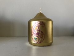 Indian Wedding Favor, Candle Favor, Paisley Favor, Gold Mini Pillar Candle Favor, Wedding Favor, Printed with Paisley design (Pack of 12)