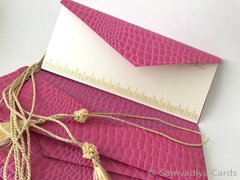 Money folders with a card, monetary currency, Gift Card holder, purse made with Fuchsia leather pattern embossed paper - Set of 4