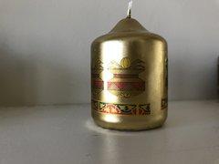 Indian Wedding Favor, Candle Favor, Kalash (earthen pot) design favor, Gold Mini Pillar Candle Favor, Wedding Favor, Printed with earthen pot design (Pack of 12)