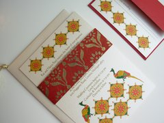 Indian Wedding Invitation & RSVP Card - Rangoli and Handmade paper band