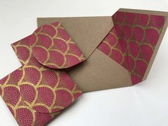 Envelope Set for Indian Wedding Invitation & RSVP Card - Kraft Square Envelope with a Gold and Magenta Shell print liner and with matching delicate RSVP envelope (10 Pack, Assembled)