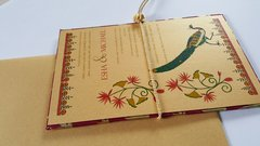 Wedding Invitation and RSVP Card - 'Peacock and Lotuses' Gold and Pink from Samvadiya