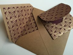 Envelope Set for Indian Wedding Invitation & RSVP Card - Square Kraft enevelope with Burgundy Gold Leaf print liner with matching RSVP envelope (10 Pack, Assembled)