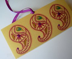 Indian Wedding Invitation & RSVP Card - Ambi (Paisley) Purple