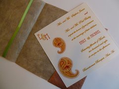 Indian Wedding Invitation & RSVP Card - Ambi (Paisley) in Raw Silk