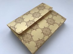 A1/ 4 Bar Envelopes for Indian Wedding Invitation RSVP card - Gold metallic finish paper and Gold Paisley Print (25 Pack)