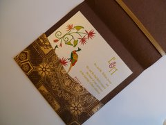 Indian Wedding Invitation & RSVP Card - Lotus and Peacock on Brocade