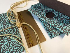 Chocolate and Teal Floral Print Money Envelope - Gift Box of 6