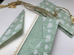 Wedding Congratulations Card and money folder, money envelope, monetary currency, Gift Card holder, purse white lotus print with light green natural paper - Set of 4