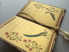 Indian Wedding Invitation and RSVP Card - 'Twin Peacock and Lotus' Gold and Pink from Samvadiya