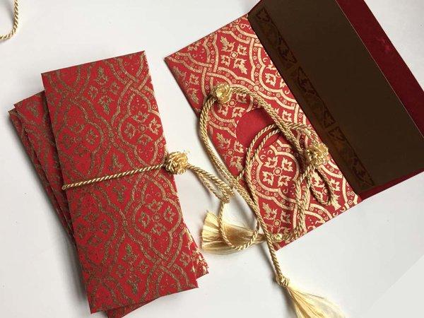 Indian Wedding Invitation Blue Floral Money Envelope