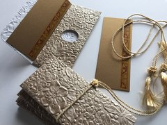 Pewter embossed with floral design Money Envelope - Gift Box