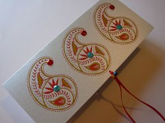 Indian Wedding Invitation & RSVP Card - Ambi (Paisley) Silver