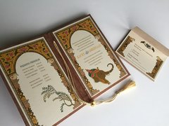Indian Wedding Invitation and RSVP Card - 'Jaipur Arch and Ganesha' with rust metallic cover from Samvadiya