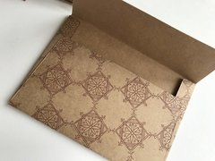 A1/ 4 Bar Heavy Weight Kraft Envelopes -  Kraft card stock envelope with Antique Gold Indian Rangoli Print (25 Pack)