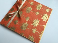 Indian Wedding Invitation Pocket Fold - Orange with gold lotus print (pack of 12)