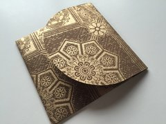 Square 3.75 inch Envelopes for Indian Wedding Invitation RSVP card - Cocoa and Gold leaf print (25 Pack)