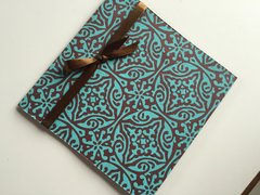 Indian Wedding Invitation Pocket Fold - Aqua with chocolate floral design with ribbon (pack of 12)