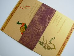 Indian Wedding Invitation & RSVP Card - with Mayur on Gold and Handmade paper band
