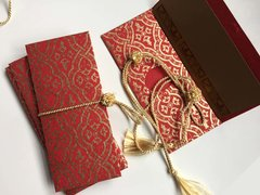 Red and gold lace print Money Envelope - Gift Box