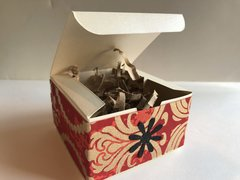 Ivory Metallic Favor Boxes (sturdy) decorated with printed red gold band - Pack of 10