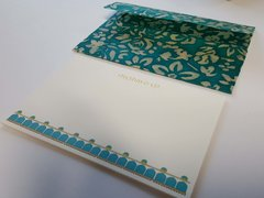 Personal or Corporate A6 size Thank You Cards, Crane paper, personalized, teal white floral envelopes - Set of 20 (Free Shipping within US)