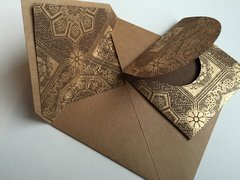 Envelope Set for Indian Wedding Invitation & RSVP Card - Kraft Square Envelope with a Gold Brocade print liner and with matching RSVP envelope (10 Pack, Assembled)