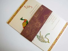 Indian Wedding Invitation & RSVP Card - with Mayur on Ivory and Handmade paper band