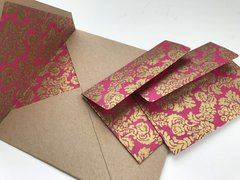 Envelope Set for Indian Wedding Invitation & RSVP Card - Kraft Square Envelope with a Gold and Magenta floral print liner and with matching delicate RSVP envelope (10 Pack, Assembled)