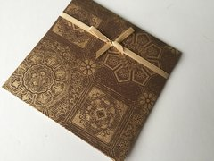Indian Wedding Invitation Pocket Fold - Chocolate brown with a gold brocade design with ribbon (pack of 12)