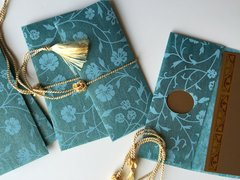 Blue Floral Chiffon Money Envelope Gift Box