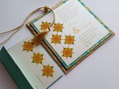 Wedding Invitation and RSVP Card - 'Rangoli' Gold Turquoise and Ivory from Samvadiya