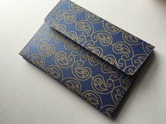 A1/ 4 Bar Envelopes for Indian Wedding Invitation RSVP card - Blue metallic finish paper and Gold Paisley Print (25 Pack)