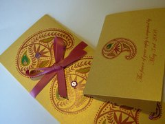 Indian Wedding Invitation & RSVP Card - Ambi (Paisley) Pink