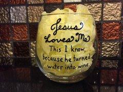 Jesus Loves Me Wine Glass