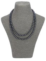 Double Strand Swarovski Pearl Necklace in Gunmetal Black