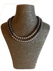Grey Swarovski Double Strand Pearl Necklace