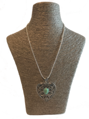 Italian Turquoise and Silver Necklace - Lg Heart