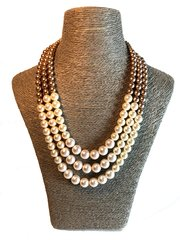 Triple Strand Swarovski Pearl Necklace in Ivory and Pale Bronze