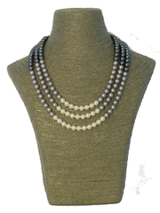 Triple Strand Swarovski Pearl Necklace in Black, Grey and Ivory