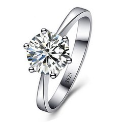 Silver Austrian Crystal Solitaire Ring